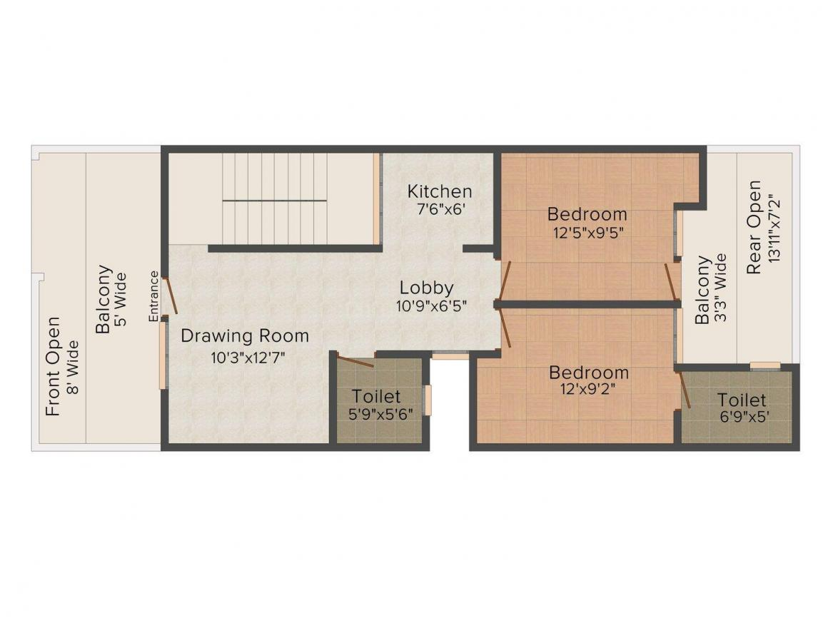 Yatharth Homes Floor Plan: 2 BHK Unit with Built up area of 900 sq.ft 1