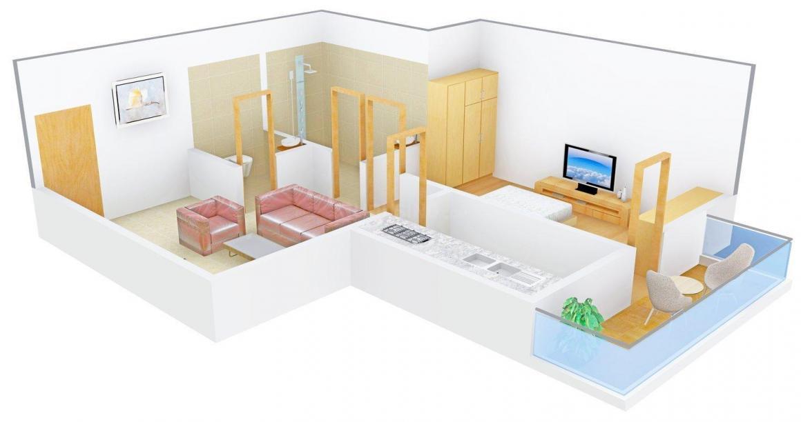 Sai Nivas Homz-3 Floor Plan: 1 BHK Unit with Built up area of 450 sq.ft 1