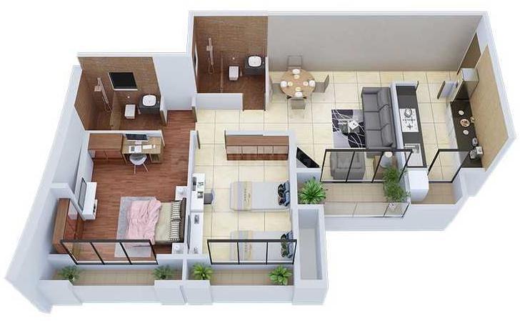 Ashish Samriddhi Floor Plan: 2 BHK Unit with Built up area of 617 sq.ft 1