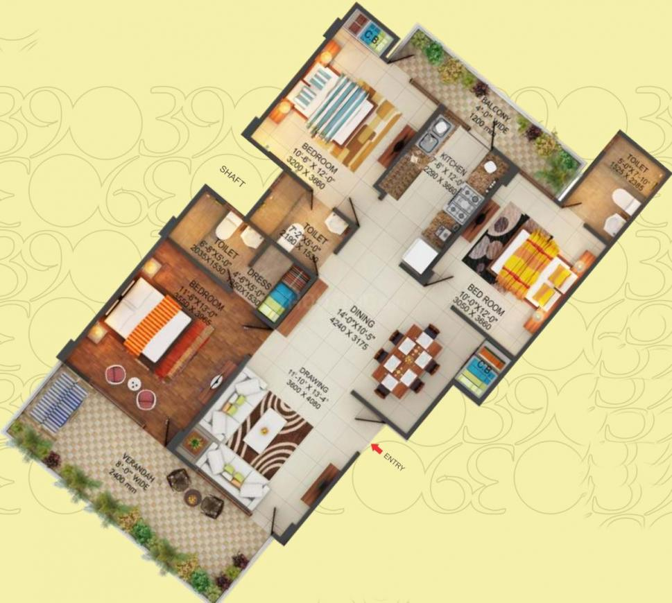 Panchsheel Prime 390 Phase 2 Floor Plan: 3 BHK Unit with Built up area of 1640 sq.ft 1
