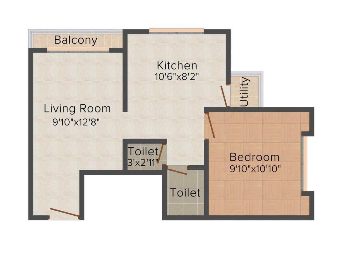 Floor Plan Image of 605.0 - 820.0 Sq.ft 1 BHK Apartment for buy in Roongta Castle