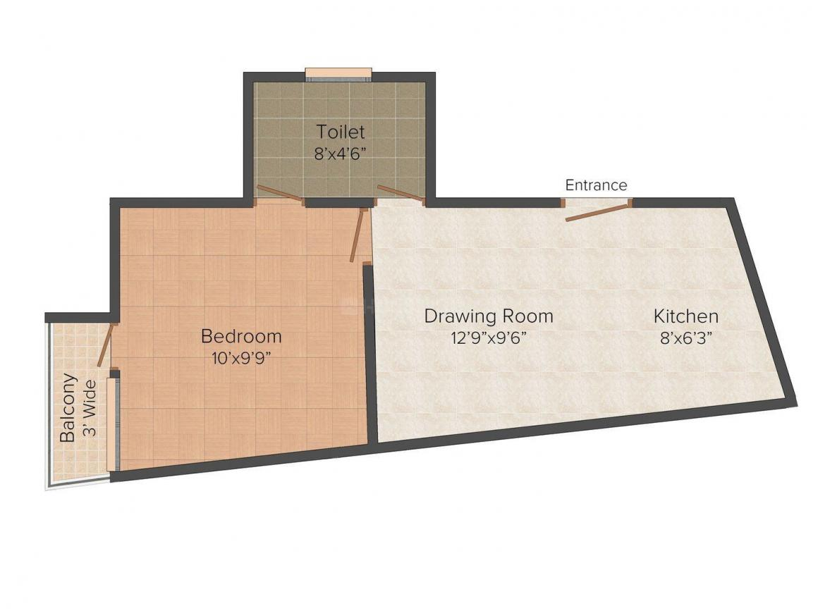 Floor Plan Image of 442 - 741 Sq.ft 1 BHK Independent Floor for buy in Santushti Apartment
