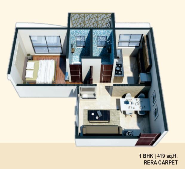 Charisma Samara Floor Plan: 1 BHK Unit with Built up area of 419 sq.ft 1