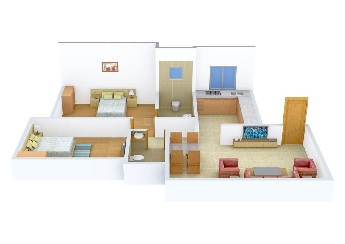 Sheth Sparkle Floor Plan: 2 BHK Unit with Built up area of 680 sq.ft 1