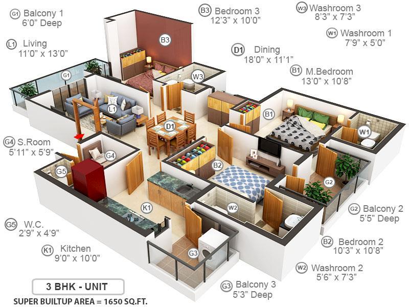 Emaar Gurgaon Greens Floor Plan: 3 BHK Unit with Built up area of 1650 sq.ft 1