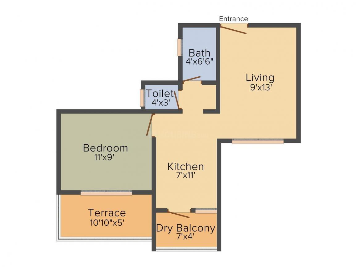 Alliance Parijat  Floor Plan: 1 BHK Unit with Built up area of 566 sq.ft 1