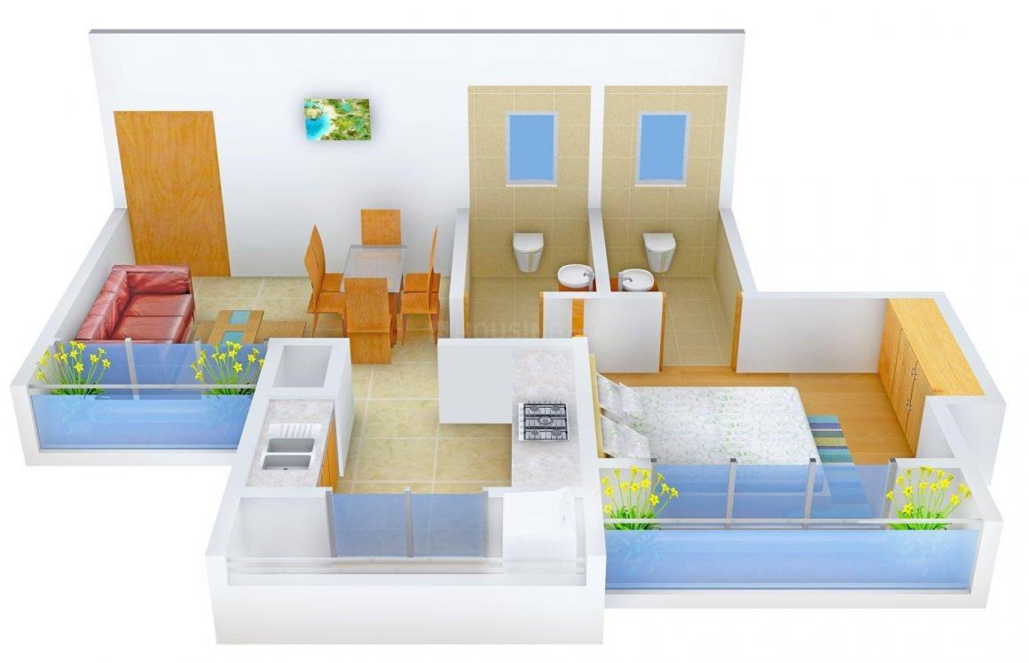 Floor Plan Image of 0 - 620.0 Sq.ft 1 BHK Apartment for buy in Agrawal Ganesh Residency
