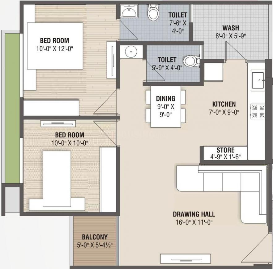 Pavanputra Pancham Pentagon Floor Plan: 2 BHK Unit with Built up area of 1233 sq.ft 1