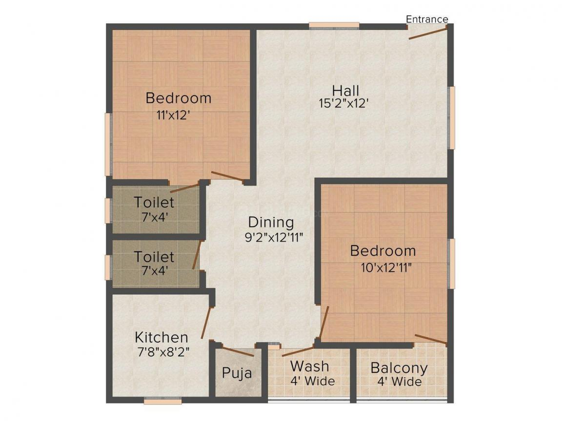 Floor Plan Image of 0 - 1085.0 Sq.ft 2 BHK Apartment for buy in Royal Jade