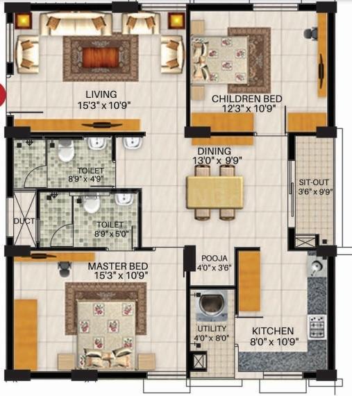 Vertiqle Veda Floor Plan: 2 BHK Unit with Built up area of 1200 sq.ft 1