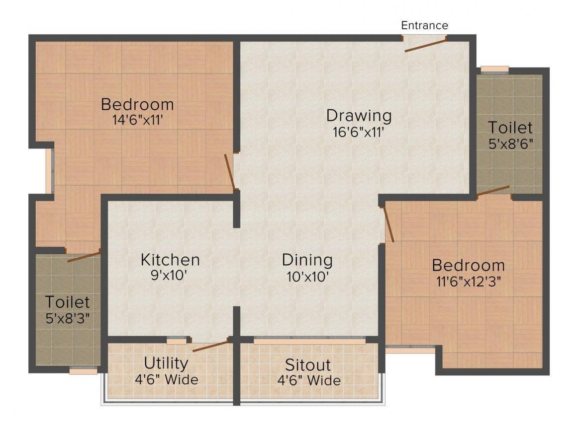 Floor Plan Image of 0 - 1200 Sq.ft 2 BHK Apartment for buy in Srinath Sandhya Shambhu