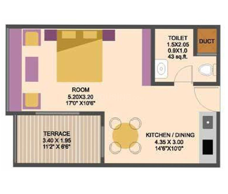 Pushpam Sanskruti Building A Floor Plan: 1 BHK Unit with Built up area of 284 sq.ft 1