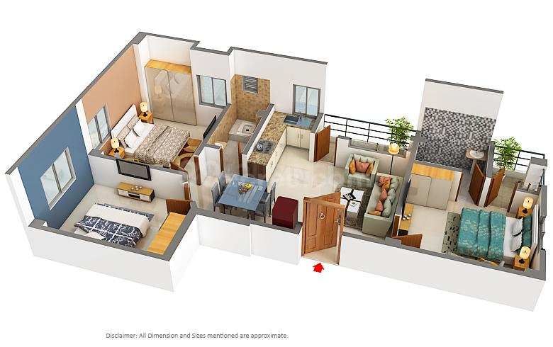 Budha Enclave Floor Plan: 3 BHK Unit with Built up area of 1080 sq.ft 1