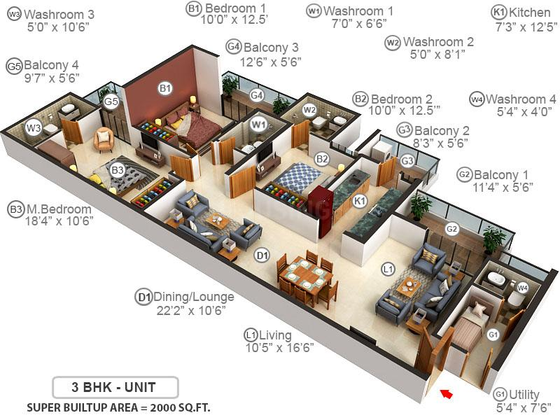 Emaar Palm Heights Floor Plan: 3 BHK Unit with Built up area of 2000 sq.ft 1