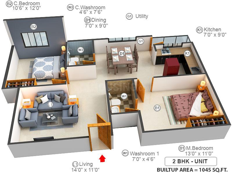 Akshaj Spring Leaf Floor Plan: 2 BHK Unit with Built up area of 1045 sq.ft 1
