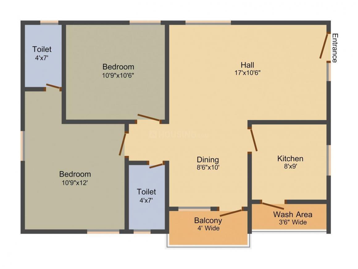 Floor Plan Image of 1005.0 - 1425.0 Sq.ft 2 BHK Apartment for buy in RK Sai Soudha