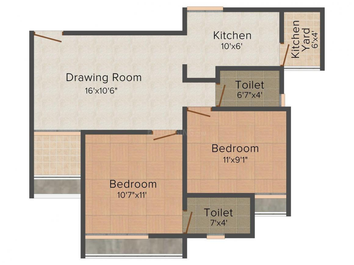 Floor Plan Image of 0 - 1008.0 Sq.ft 2 BHK Apartment for buy in Sheetal Vedika Happy Valley