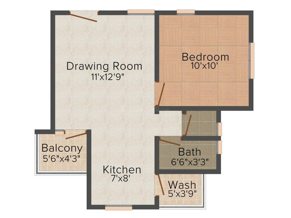 Floor Plan Image of 0 - 600 Sq.ft 1 BHK Apartment for buy in Astorion Madhuvan Avenue