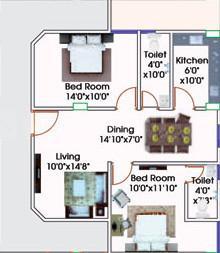 Muskan Meena Residency Floor Plan: 2 BHK Unit with Built up area of 911 sq.ft 1