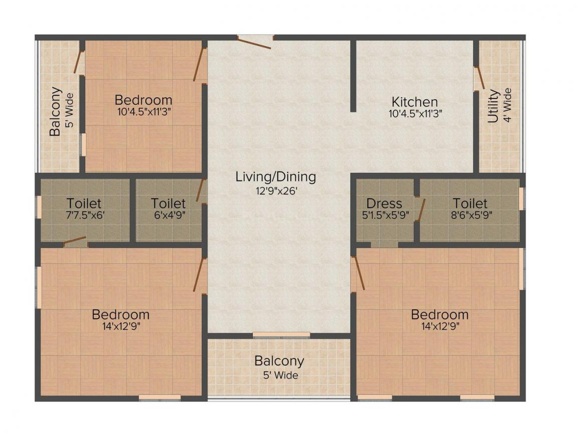 Shiloh Avenues Floor Plan: 3 BHK Unit with Built up area of 1750 sq.ft 1