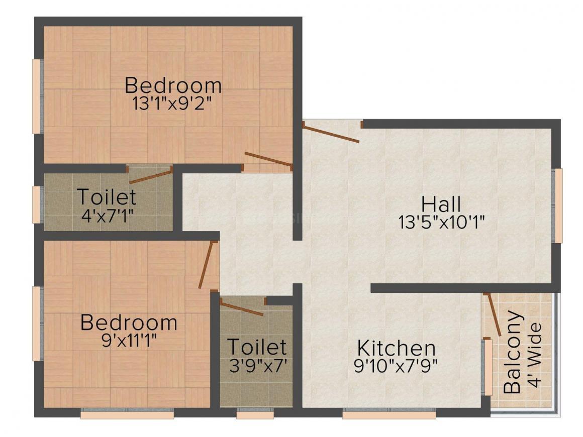 Floor Plan Image of 0 - 765 Sq.ft 2 BHK Apartment for buy in Kshitij Construwell Bhakti Yog