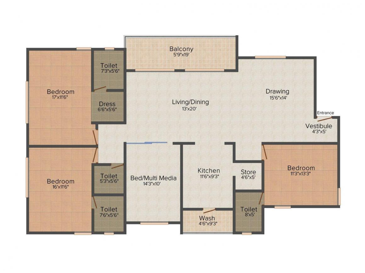 Floor Plan Image of 0 - 1200.0 Sq.ft 3 BHK Apartment for buy in Purohit Sopan Heights