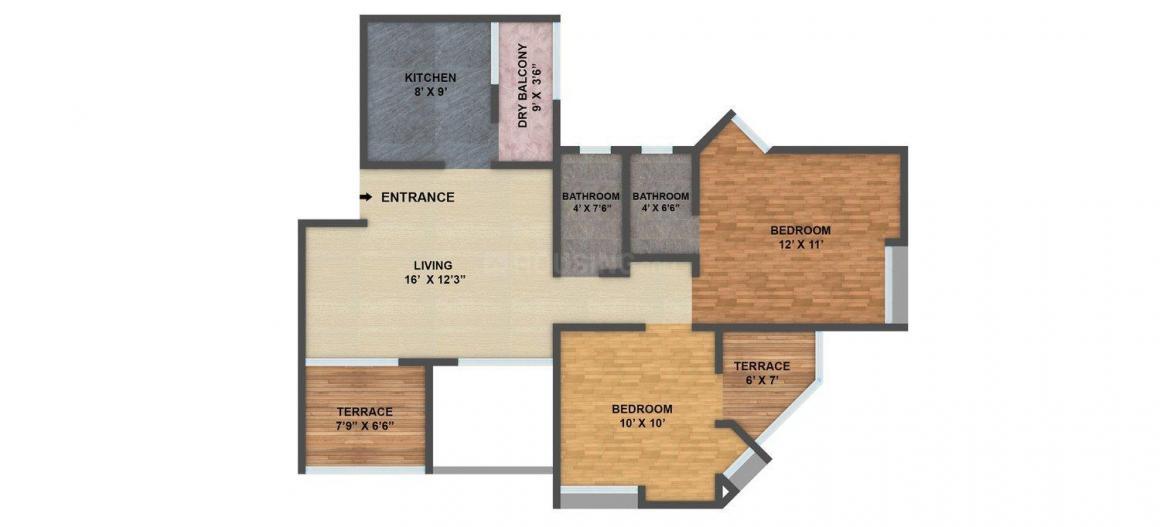 Sarthak Beaulieu Floor Plan: 2 BHK Unit with Built up area of 905 sq.ft 1