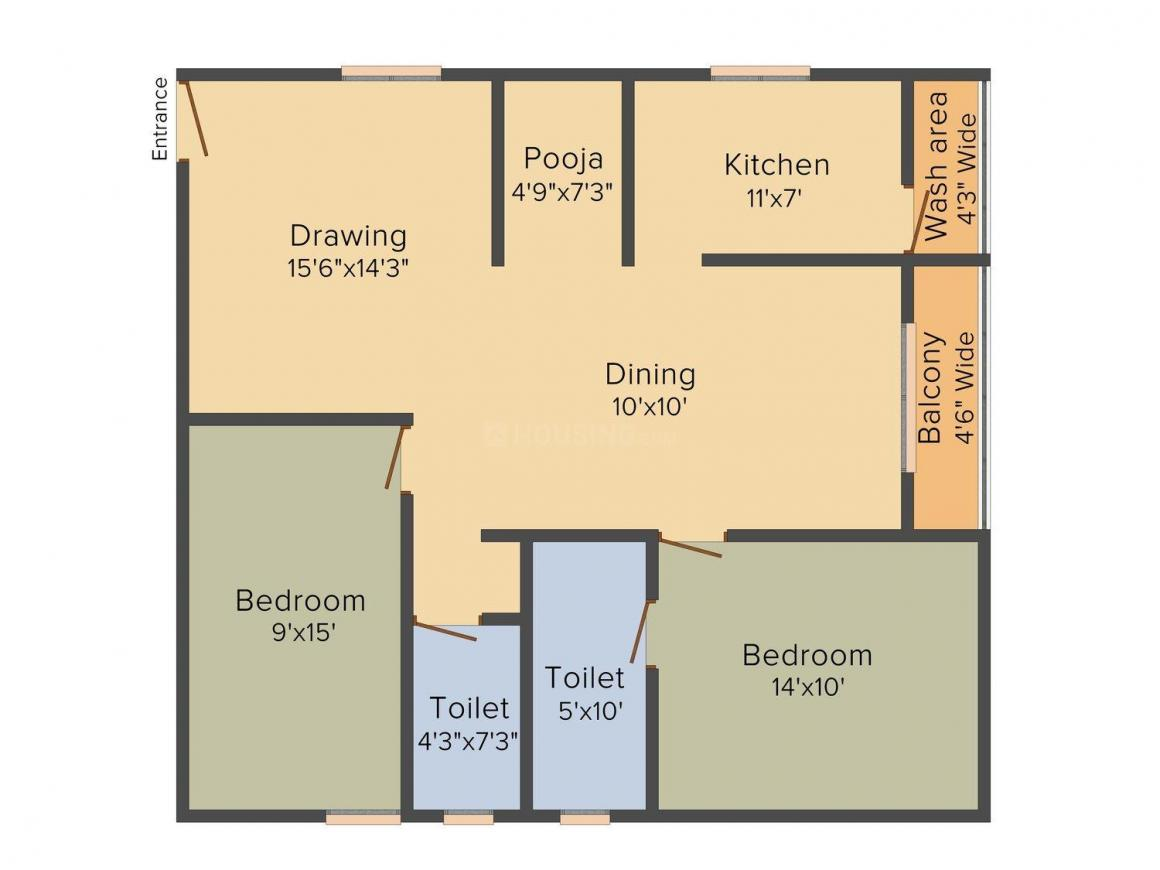 Floor Plan Image of 1230 - 1650 Sq.ft 2 BHK Apartment for buy in Sri Balaji Adarsh Heights
