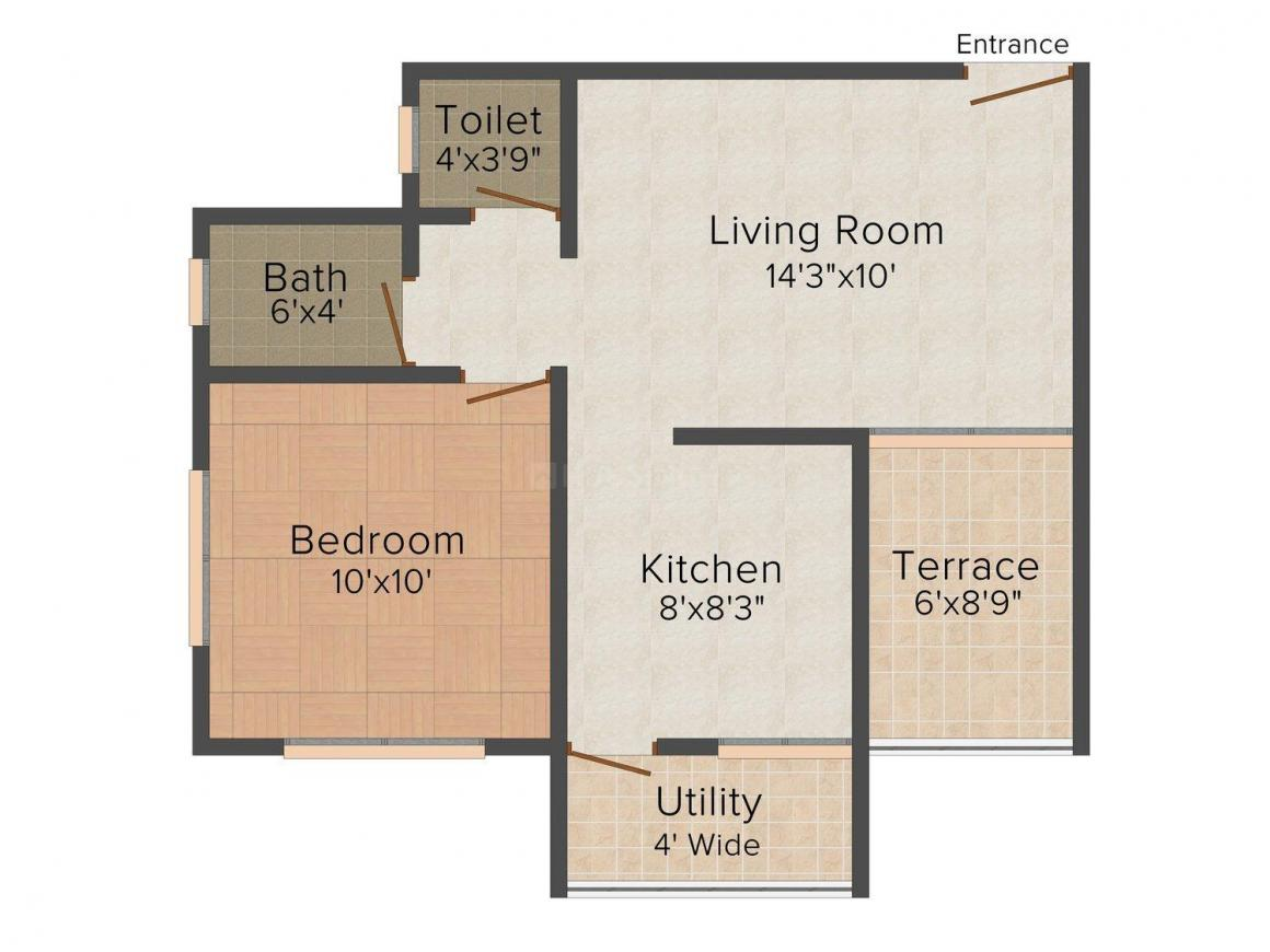 Floor Plan Image of 605 - 900 Sq.ft 1 BHK Apartment for buy in Sanjeet Mayuri Gold Leaf