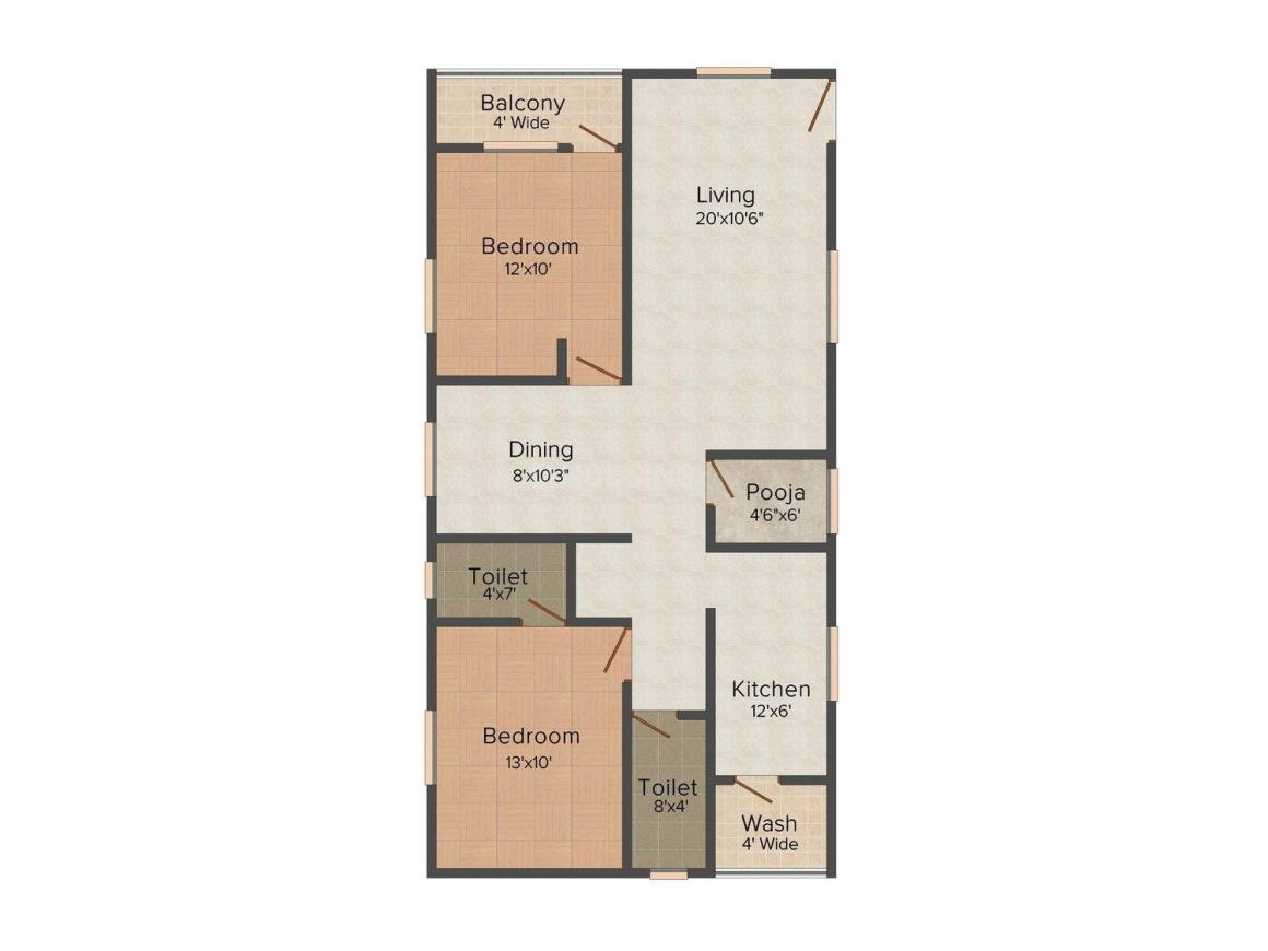 Yamuna Residency Floor Plan: 2 BHK Unit with Built up area of 1000 sq.ft 1