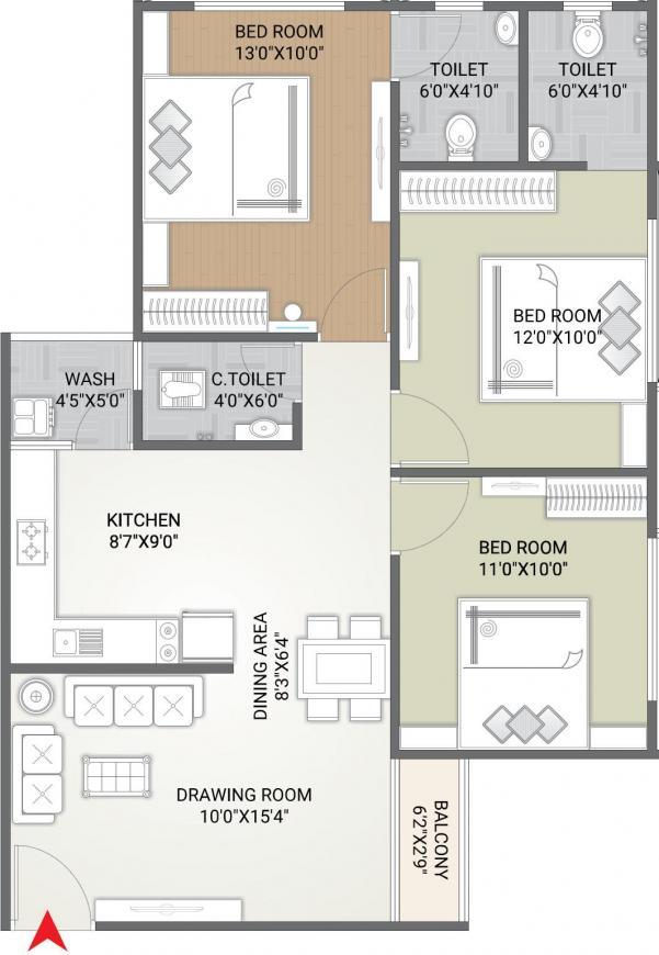 Siddhi Priya Akriti Opulence Floor Plan: 3 BHK Unit with Built up area of 861 sq.ft 1