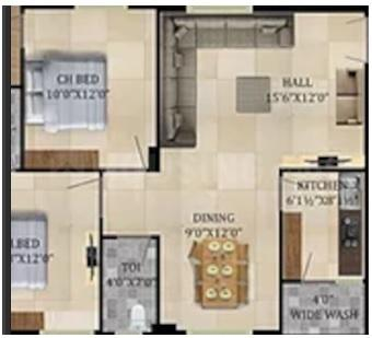 Durga Silver Springs Floor Plan: 2 BHK Unit with Built up area of 916 sq.ft 1