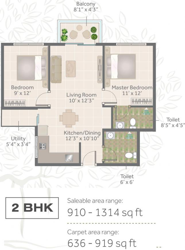 Sona Vistaas Floor Plan: 2 BHK Unit with Built up area of 910 sq.ft 1