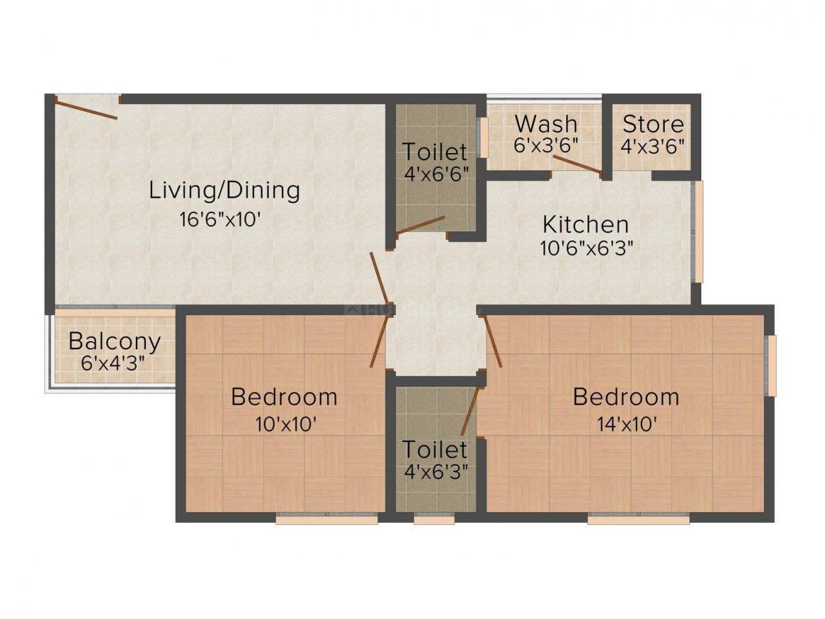 Deep Satyadeep Heights Floor Plan: 2 BHK Unit with Built up area of 1050 sq.ft 1