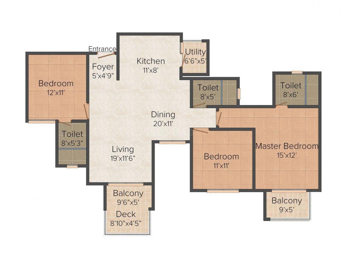 Floor Plan Image of 1665 - 1843 Sq.ft 3 BHK Apartment for buy in Puravankara Scarlet