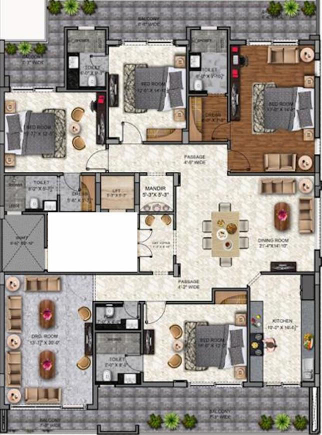 Star Home Floor Plan: 4 BHK Unit with Built up area of 3500 sq.ft 1