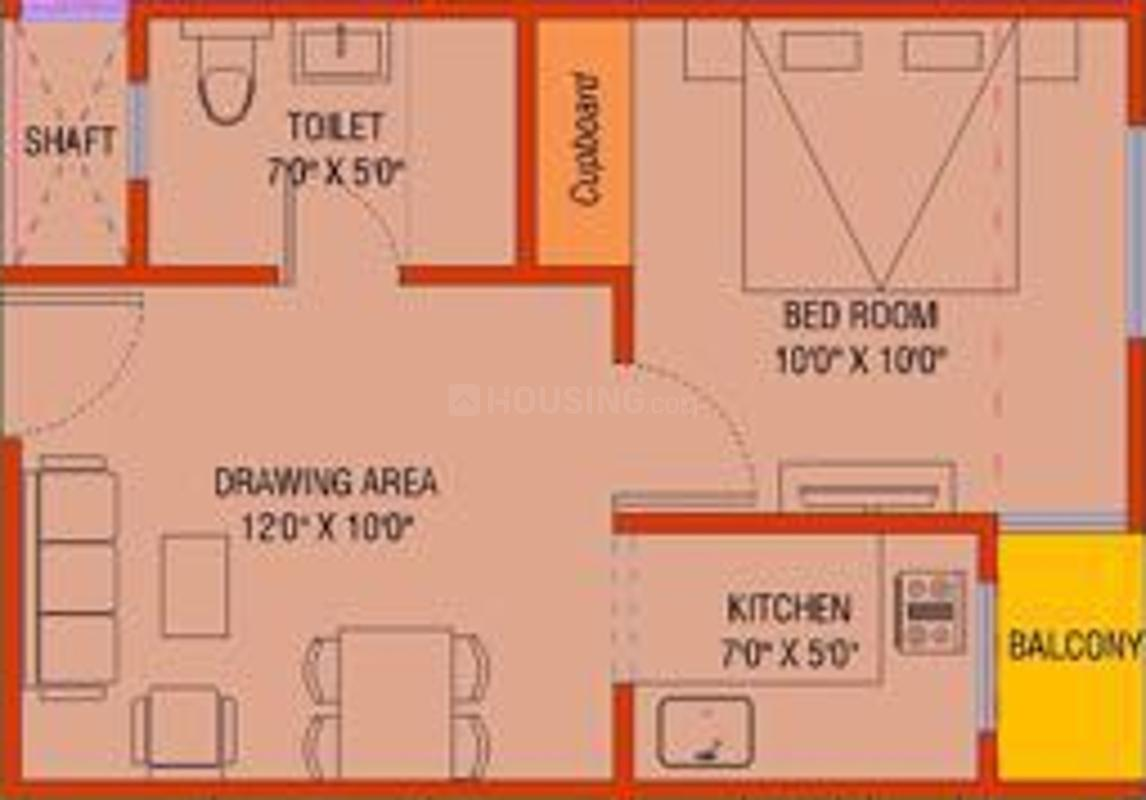 Dench County Floor Plan: 1 BHK Unit with Built up area of 450 sq.ft 1