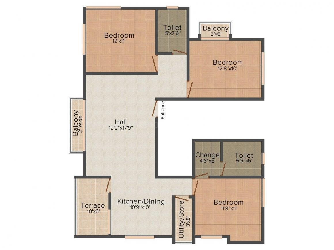 Floor Plan Image of 1380.0 - 1585.0 Sq.ft 3 BHK Apartment for buy in Prabha Shelter Aura
