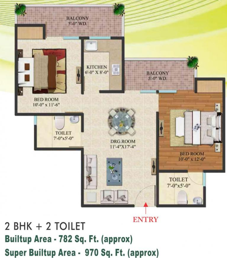 Indosam 75 Floor Plan: 2 BHK Unit with Built up area of 970 sq.ft 1