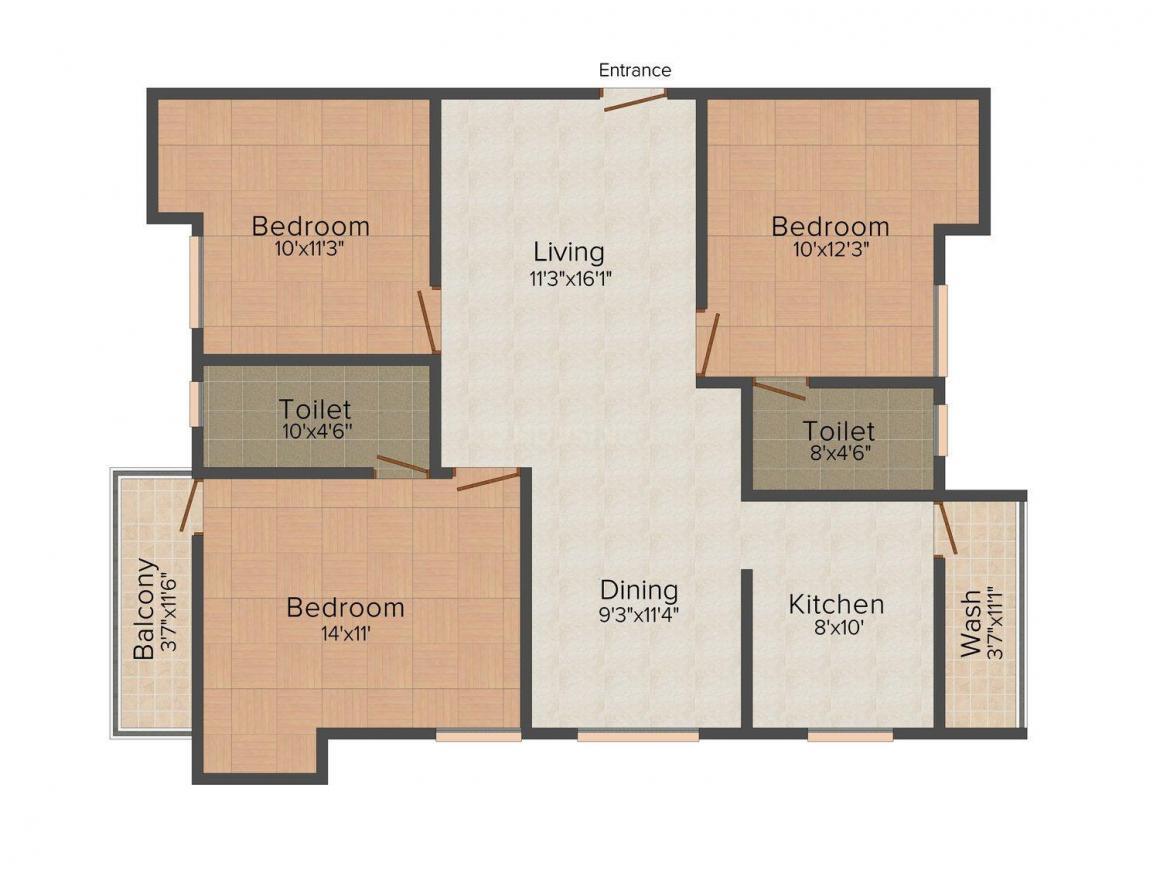 Floor Plan Image of 0 - 1293.0 Sq.ft 3 BHK Apartment for buy in India Ashraya