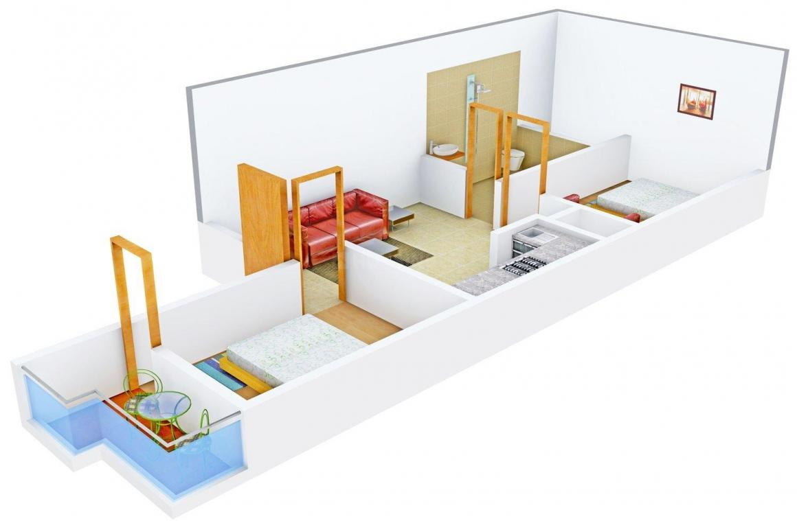 Sapphire Apartments Floor Plan: 2 BHK Unit with Built up area of 412 sq.ft 1