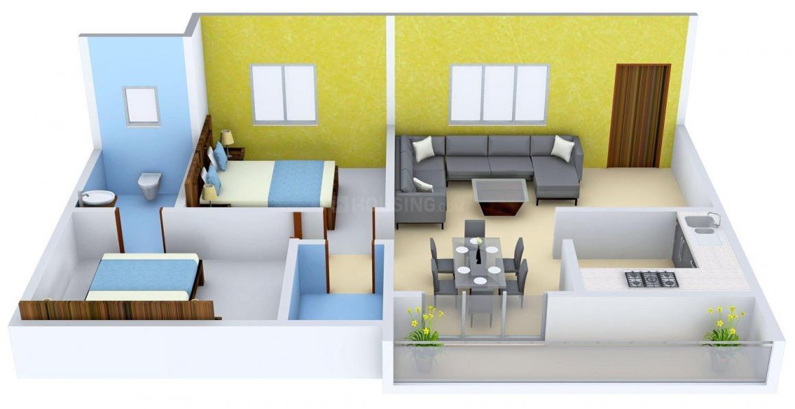 Floor Plan Image of 1005 - 1200 Sq.ft 2 BHK Apartment for buy in Sree Sai Mana Sannidhi