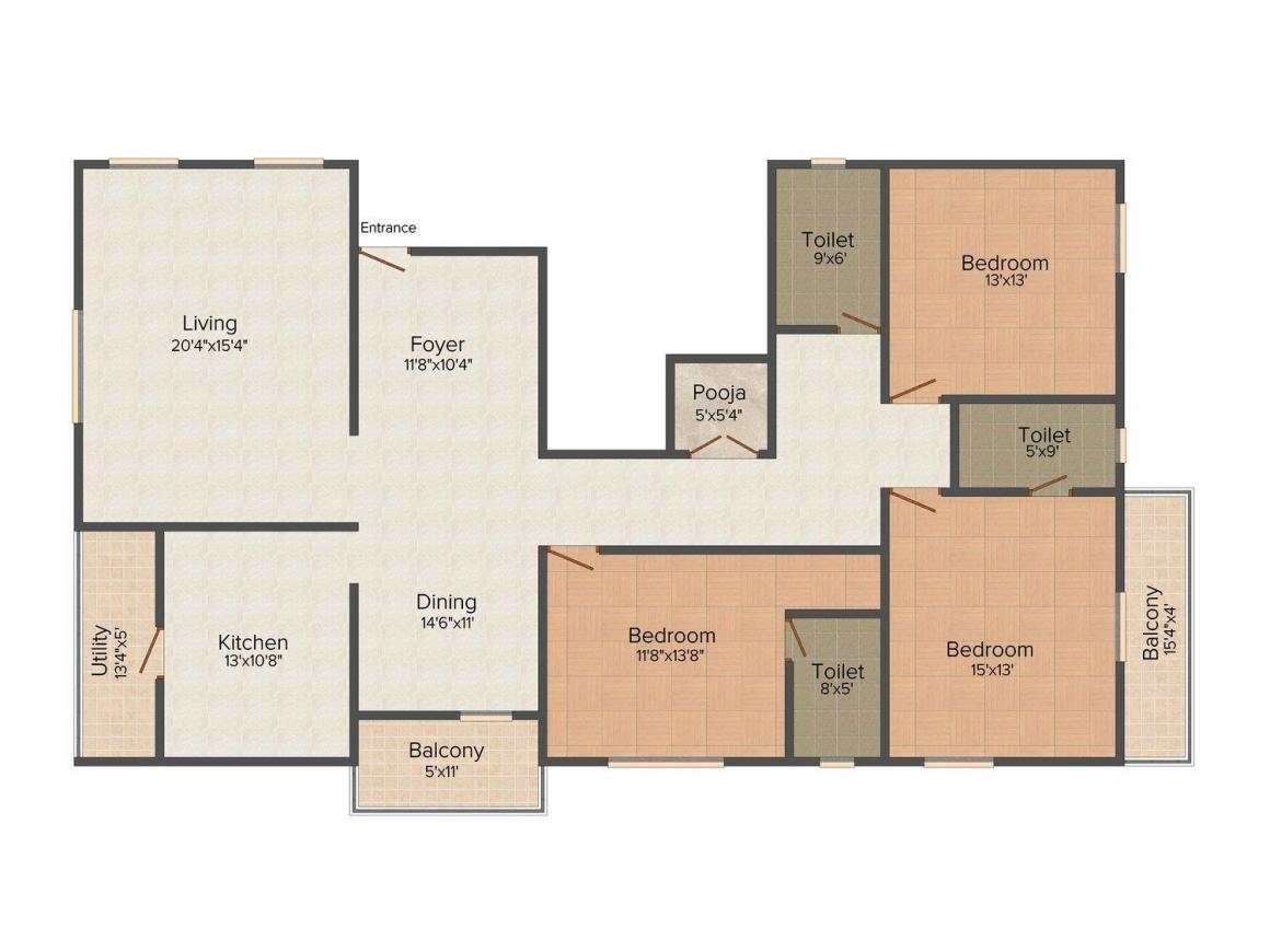 Floor Plan Image of 0 - 2241.0 Sq.ft 3 BHK Apartment for buy in RK Suraksha Redtree Classic