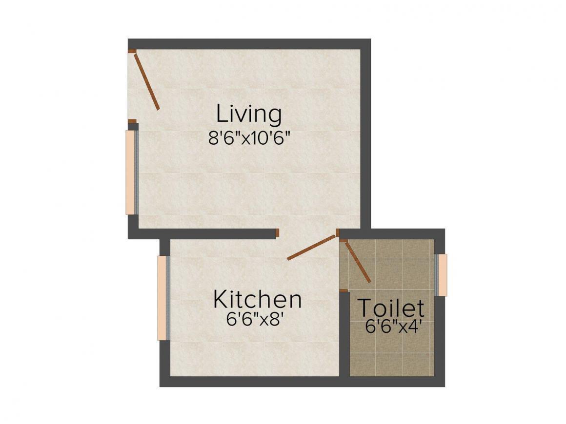 Divine Heramb Apartment Bldg No. 4 Floor Plan: 1 BHK Unit with Built up area of 280 sq.ft 1