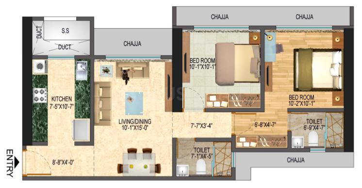 Northern Hills Floor Plan: 2 BHK Unit with Built up area of 623 sq.ft 1