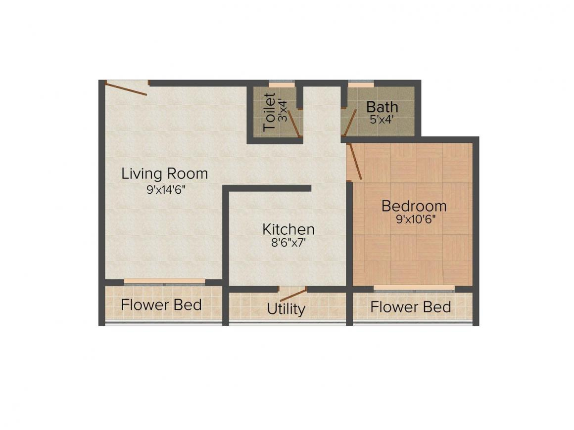 Pooja Paradise Floor Plan: 1 BHK Unit with Built up area of 525 sq.ft 1