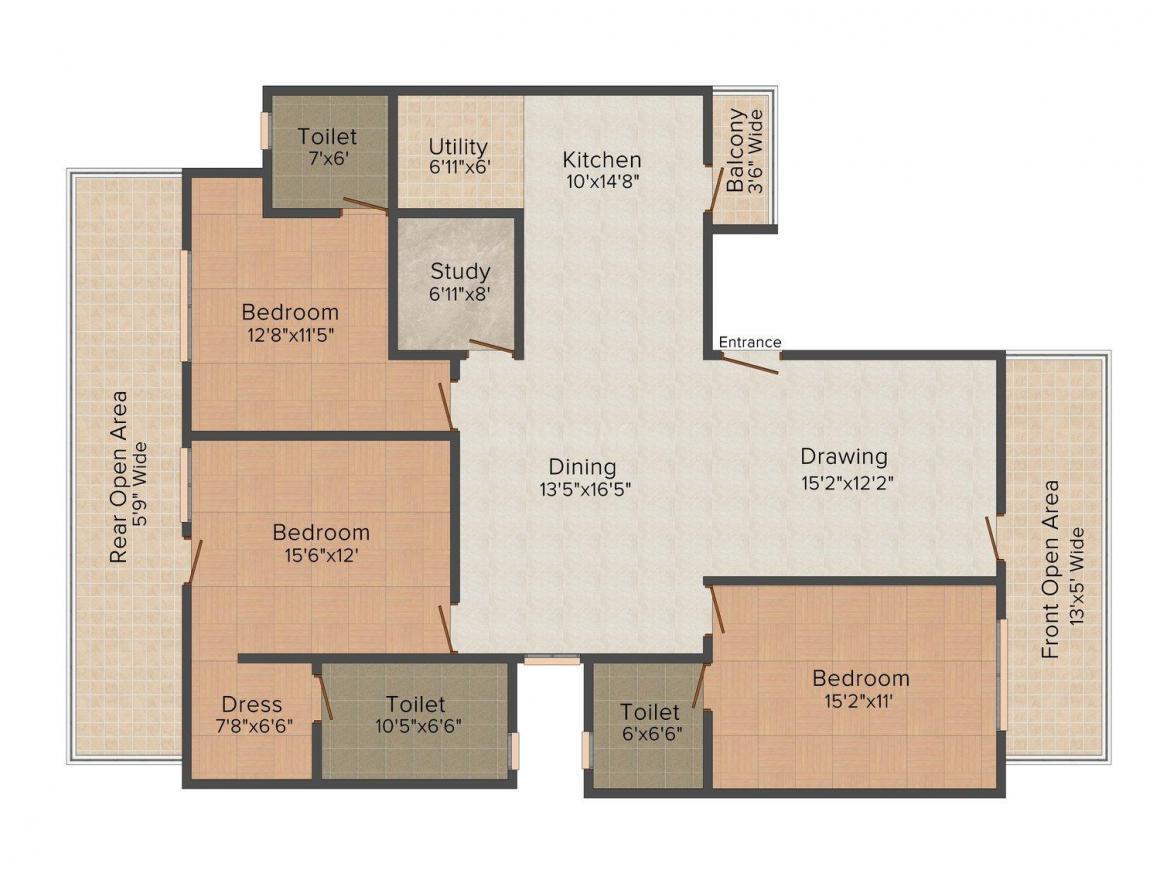 Floor Plan Image of 0 - 1800.0 Sq.ft 3 BHK Independent Floor for buy in SM Excel Floors - 3