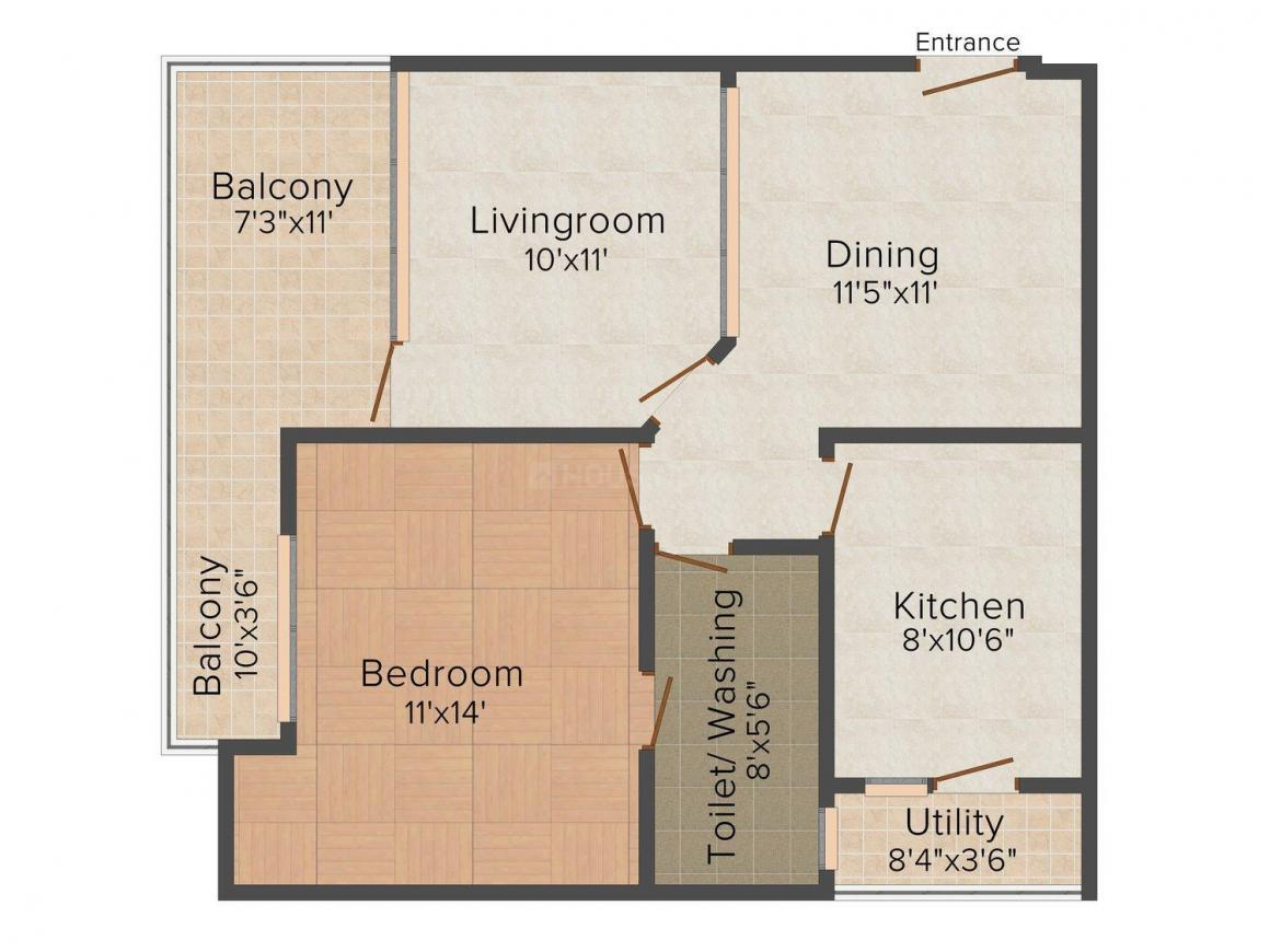 Floor Plan Image of 1050 - 2190 Sq.ft 1 BHK Apartment for buy in Uddhav Beverly Park
