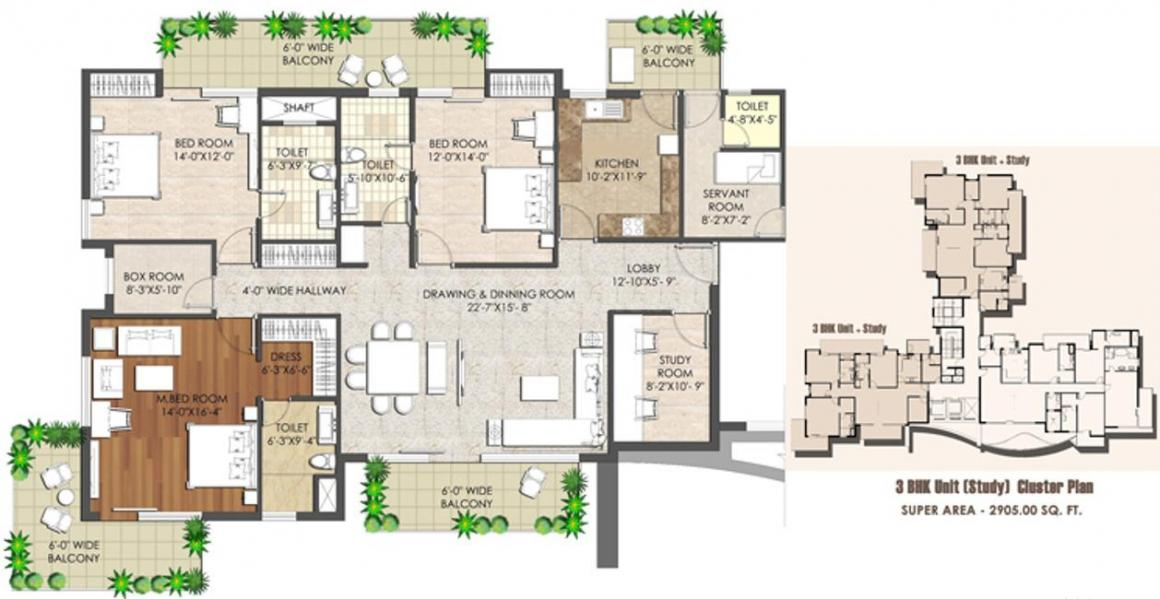 Spaze Kalistaa Floor Plan: 3 BHK Unit with Built up area of 2905 sq.ft 1