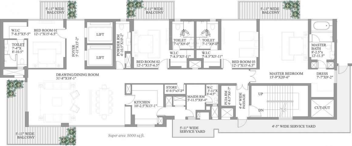 Paras Quartier Floor Plan: 4 BHK Unit with Built up area of 5000 sq.ft 1